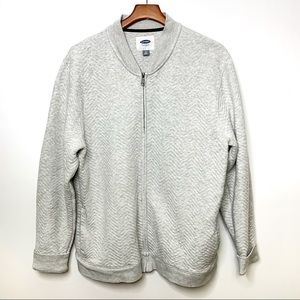 OLD NAVY Men's Heather Grey Quilted Bomber Jacket